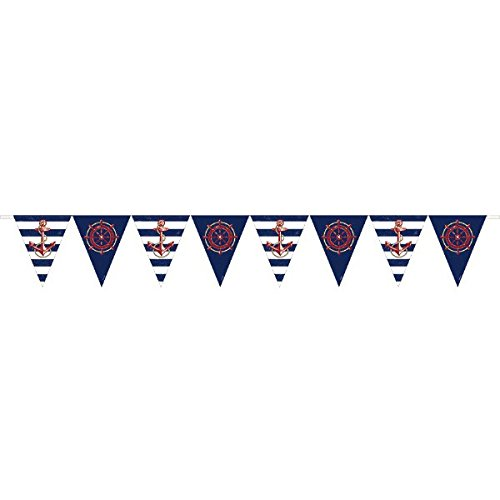 Anchor 's Los Nautical Party Schiff 's Rad und Anker-Pennant Banner Dekoration - Schiff-rad