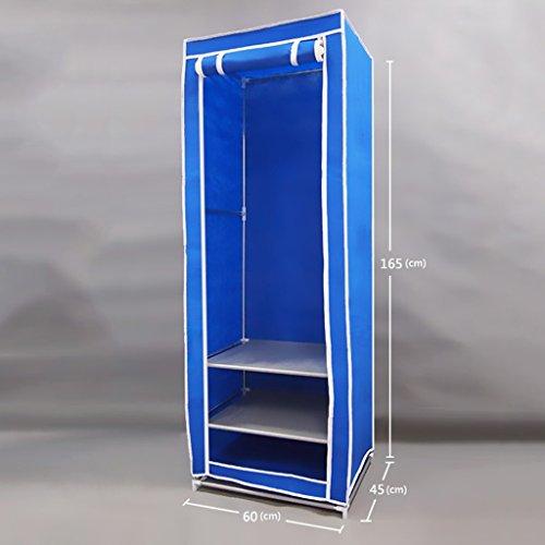 MMM& Petit cadre en acier renforcé tissu épais simple étudiant Dortoir tissu armoire penderie armoires (couleur : Bleu)