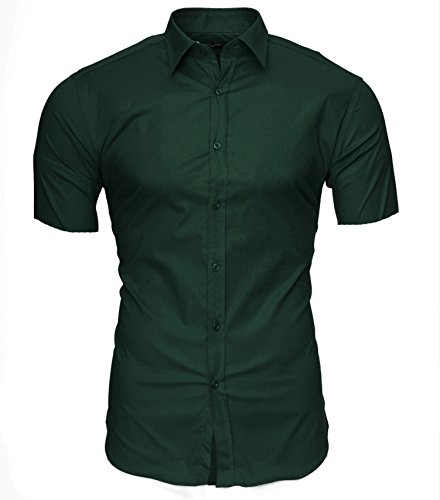 KAYHAN Homme Chemise Slim Fit Repassage facile, Manches courte Modell - CARIBIC Darkgreen