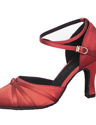 La mode moderne Sandales femme personnalisable Danse de Salon Latin chaussures sandales Satin moderne Talon personnalisé professionnel/Jaune/Rouge à l'intérieur US7.5/EU38/UK5.5/CN38