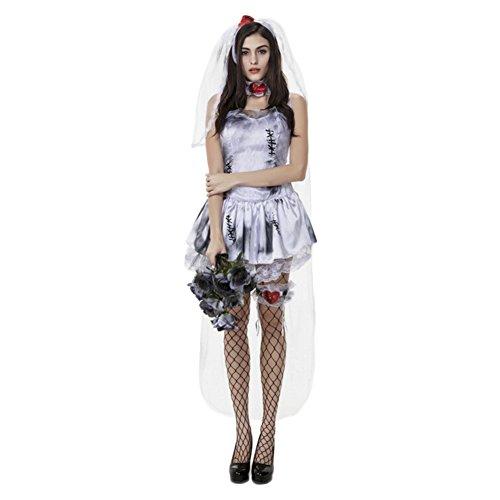 Damen Friedhofsbraut Kostüm, Geisterbraut Kleid für Halloween Fasching Weiß