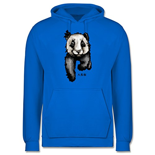 """Wildnis - Panda mit chinesischen Schriftzeichen für Panda übersetzt """"große Bär-Katze"""" - Männer Premium Kapuzenpullover / Hoodie Himmelblau"""
