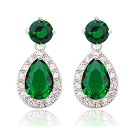 KnSam Boucles d'Oreilles Fantaisie Plaqué Or Blanc Percées Drop Earrings Teardrop Noble Incrusté Cristal Rhinestone Vert