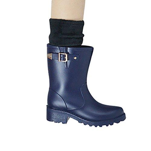 LvRao Frauen Hohe Ankle Wellington Stiefel Gummistiefel Damen Hoher Absatz Lange Gummistiefel Blau mit Socken 36 FpV3Cy
