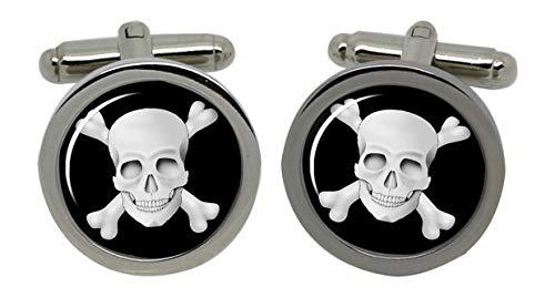 Totenkopf Männer-Manschettenknöpfe (Jolly Roger) mit Chrom-Geschenkbox -