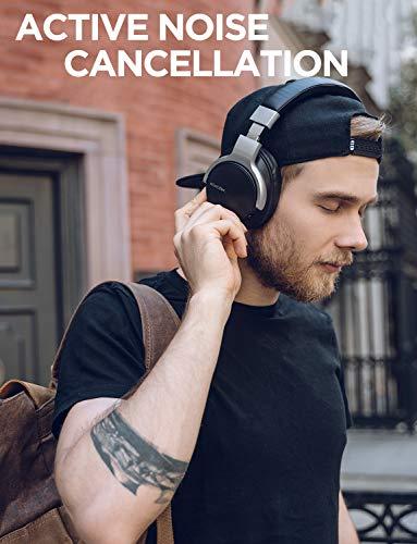Mixcder E7 Active Cancelación de Ruido Auriculares Bluetooth con Micrófono Hi- Fi Deep Bass Auriculares Inalámbricos sobre el Oído,  Cómodo Protein Earpads,  para PC/Teléfonos Celulares/TV -  Negro
