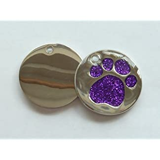 Engraved 25mm Glitter PURPLE Paw Shaped Pet ID Tag - In Stock and Supplied by Busy Bits 7