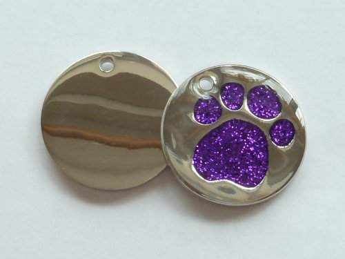Engraved 25mm Glitter PURPLE Paw Shaped Pet ID Tag - In Stock and Supplied by Busy Bits 1