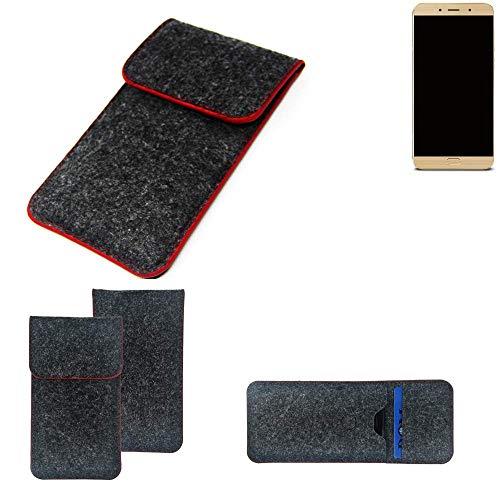 K-S-Trade® Filz Schutz Hülle Für -Allview X4 Soul Lite- Schutzhülle Filztasche Pouch Tasche Case Sleeve Handyhülle Filzhülle Dunkelgrau Roter Rand