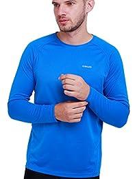 H. Miles–Camiseta de running de manga larga Sport unidad Función Camiseta Fitness Base Layer Cool Compresión Camiseta Entrenamiento Tenis hombres Jersey, color royal inte, tamaño medium