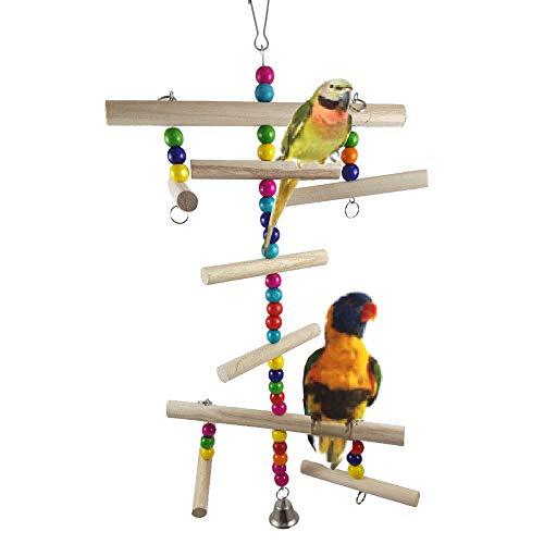 Gaddrt legno Parrot parrocchetto altalena giocattolo da appendere con supporto Bird Bell Play Toys Claws grinding bar, D
