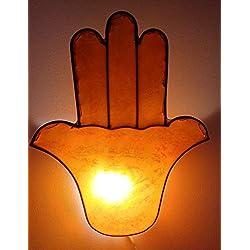 Casablanca Fatima Hand - Lámpara de Pared Oriental con Forma de Mano (Bombilla Henna marroquí, 40 x 32 cm), Color Naranja