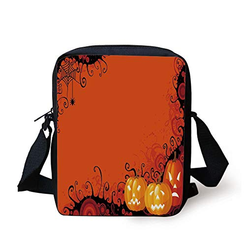 ree Halloween Pumpkins Abstract Black Web Pattern Trick or Treat Decorative,Orange Marigold Black Print Kids Crossbody Messenger Bag Purse ()