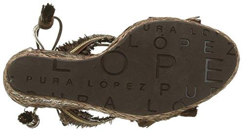 Pura Lopez Ah331r Damen Sandalen Braun - Marron (Trensado Chocolate Napa Metal Oro)