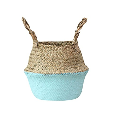 Wand Blumenkorb, Frashing Seagrass Wicker Basket Wicker Basket Flower Pot Folding Basket Dirty Basket Storage Home Decoration Blumenkorb (Blau) (Blau Wicker)