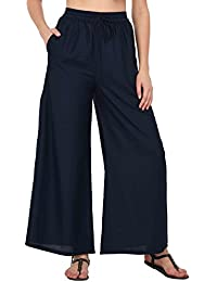 Pistaa Women`s Navy Blue Rayon Solid Palazzo