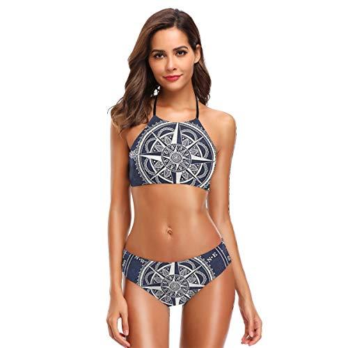 Metallic Schiere Bh (Mandala Indien Mandala Kompass Zweiteiler Bikinisets Badeanzug Sports Style S)