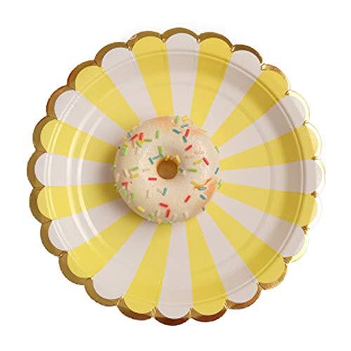 poehxtyy 817,8cm/22,9cm Papier Party Platten Langlebig starr, Teller für Geburtstag, Party, Hochzeit, Papier, gelb, 7inch