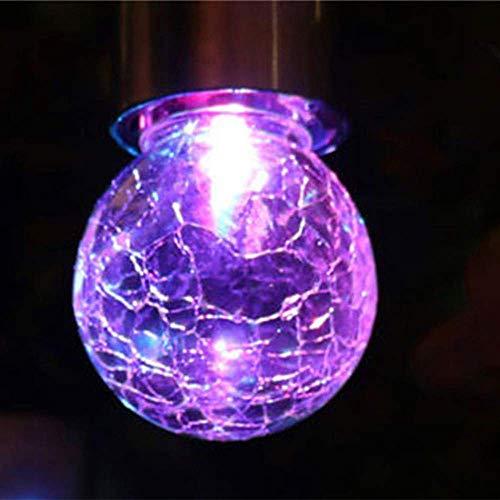 Gaddrt 3 farbwechselnde Solar-Lichter mit Glaskugeln, 9 x 6 cm, Mosaik-Craquelé-Kugeln, LED-Nachtlicht für den Garten, mit Haken zum Aufhängen, violett, 50 LED Beads(5m)