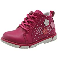 Apakowa Toddler Girls High-top Lace up Short Ankle Boots Infant Kids Autumn Spring Flower Casual Shoes with Zip