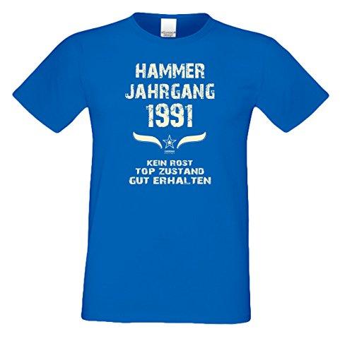 Geschenk 27. Geburtstag Herren T-Shirt :-: Schürze Oder :-: Kissen :-: Hammer Jahrgang 1991 Farbe: Royal-Blau & Urkunde
