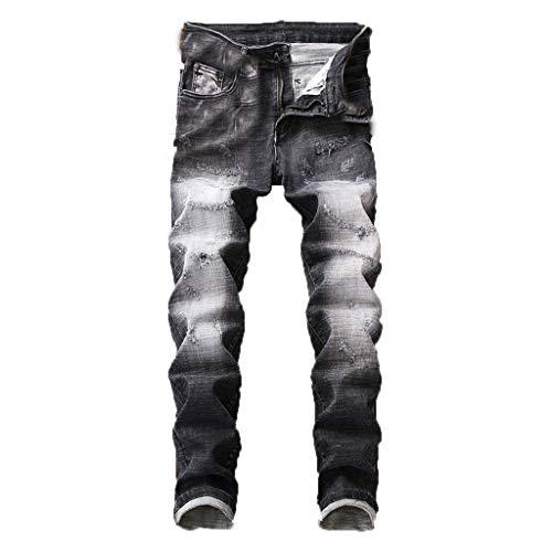 Dwevkeful Herren Destroyed Jeans Denim Slim Fit Skinny Stretch Casual Stylischer Jogger Hosen Lang Trousers Elastische Sporthose Falten-Front Regular - Calvin Falten Anzug