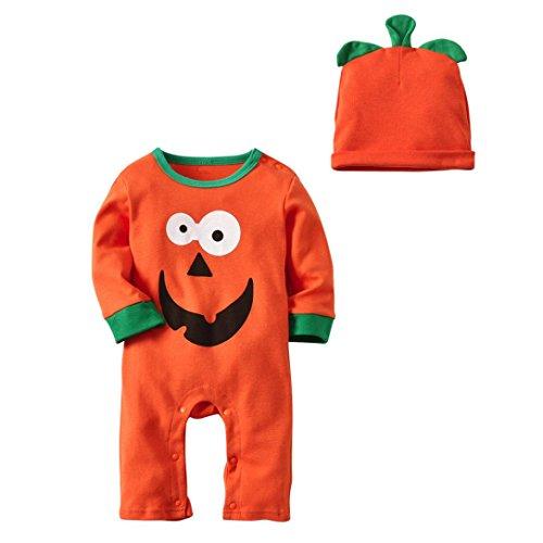 QinMM Neugeborenes Baby Jungen Mädchen Halloween Kleidung Langarm Strampler Overall Cap Outfit Kostüm Outfits Kürbis Ghost Print Kleidung Set Orange für 12 Monate-24 Monate (18M, Orange)