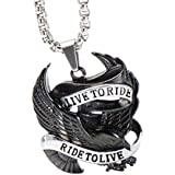 Men's Stainless Steel Live To Ride Ride To Live Eagle Biker Pendant Necklace With Chain (Black And Silver)