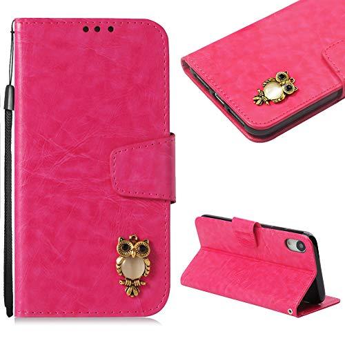 CESTOR Handytasche für iPhone XR,Niedlich 3D Eule Magnetisch Flip PU Leder Brieftasche Kartenfach Slot und Faltbar Standfunktion Weich Silikon Tasche für iPhone XR,Stieg Rot