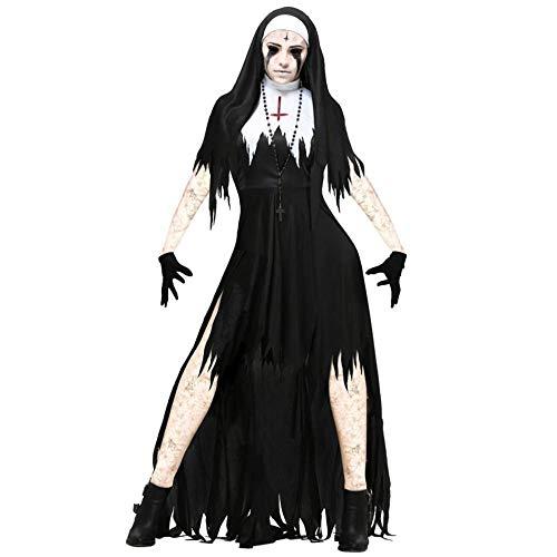 Kostüm Nonne Fantasy - NiQiShangMao Halloween Nonne Cosplay Kostüm Frauen Schwarz Vampire Fantasy Kleid Terror Schwester Party Verkleidung Weibliche Phantasie Für Erwachsene