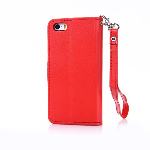 Meet de pour Apple iphone 5S / iphone SE Case, (Bling motif Papillons) Folio Wallet flip étui en cuir / Pouch / Case / Holster / Wallet / Case pour Apple iphone 5S / iphone SE PU Housse / en cuir Wall Big Red