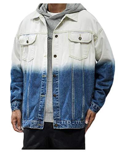 CuteRose Men Trendly Plus-Size Turn Down Collar Baggy Gradient Denim Jacket Coat Blue 4XL Medium Wash Denim Vest