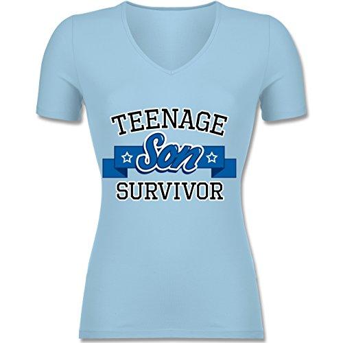Muttertag - Teenage Son Survivor - Tailliertes T-Shirt mit V-Ausschnitt für Frauen Hellblau