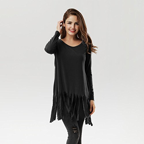 Xshuai Frauen-Troddel-langes Hülsen-O-Ansatz-Hemd beiläufiges Blusen-Baumwolloberseiten-T-Shirt Schwarz