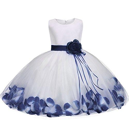 GUOCU Abito Bambina Principessa Vestito da Cerimonia per Damigella con Bowknot Floreale Abiti per Matrimonio Carnevale Natale Regalo Blu 2 140
