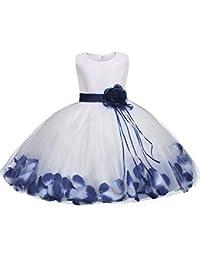 Abito Bambina Principessa Vestito da Cerimonia per Damigella con Bowknot  Floreale Abiti per Matrimonio Carnevale Natale 396b7028788