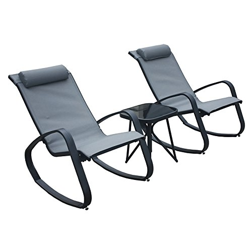 Azuma (Seconds Madrid Garden Bistro Set Black Patio Rocking Chairs Glass Top Table Lounger Outdoor Steel Frame Texteline Seat Conservatory Furniture