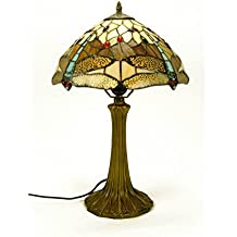 "Lámpara de Sobremesa Decorativa ""Tiffany Ambar Libélulas"". Resina y Cristal. Figuras e Iluminación. 25 Ø x 41 cm."