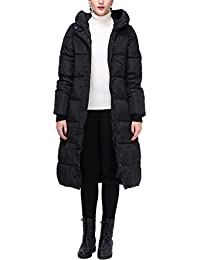 cc650551f3ead YOSICIL Manteau en Coton Hiver Femme Doudoune Longue Chaud Jacket Élégant  Uni Zip Long Veste à Capuche Coat Blouson Parka Veston…
