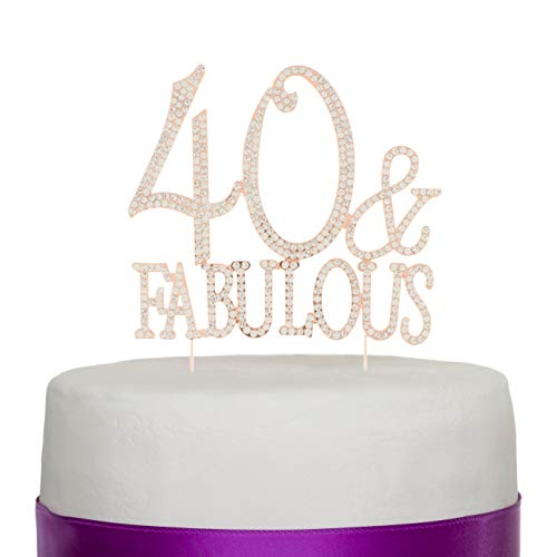 (40 & Fabulous Rose Gold) - 40 & Fabulous Cake Topper for 40th Birthday Party Supplies Decoration (40 & Fabulous Rose Gold) (40th Birthday Party Supplies)