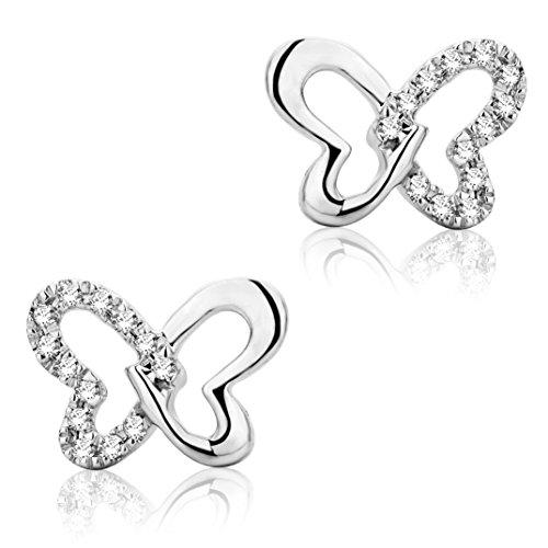 Miore Ohrringe Damen 0.04 Ct Diamant Ohrtecker Schmetterling aus Weißgold 9 Karat / 375 Gold, Ohrschmuck mit Diamanten Brillianten
