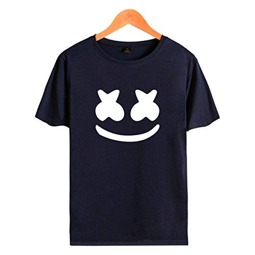 SIMYJOY Marshmello Maske Kostüm DJ Fans t Shirt EDM Cooler Elektrischer Ton T-Shirt Hiphop Top Straßenfashion Kurzarm Rundhals Tee für Damen Herren Liebespaar Jugendliche (Kostüme Für Mädchen Coole)