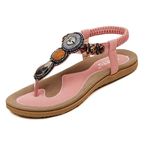 Amlaiworld Damen Mode Sweet Perlen Clip Toe Wohnungen böhmischen Herringbone Sandalen Rosa