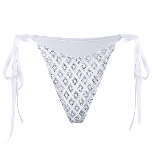 Krawatte Shinny Pailletten brasilianisches Sexy Bikini Bottom Seite Krawatte Badeanzug Badebekleidung Dessous Unterwäsche silber silber Large ()