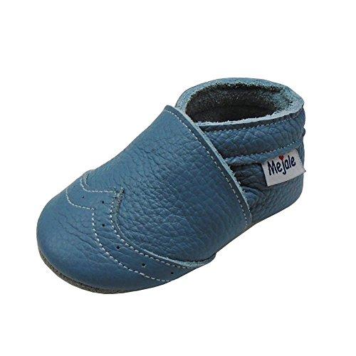 Mejale Weiche Sohle Leder Babyschuhe Lauflernschuhe Krabbelschuhe Kleinkind Kinderschuhe Hausschuhe(hellblau,0-6 Monate) (Baby Mokassins Größe 1)