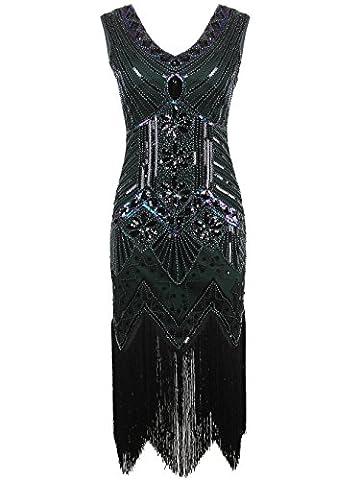 Vikoros Women 1920s Gastby Sequin Art Nouveau Embellished Fringed Flapper Dress