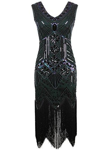 Vikoros Damen-Cocktailkleid, Cocktail, (Silver Kleider Plus Size)