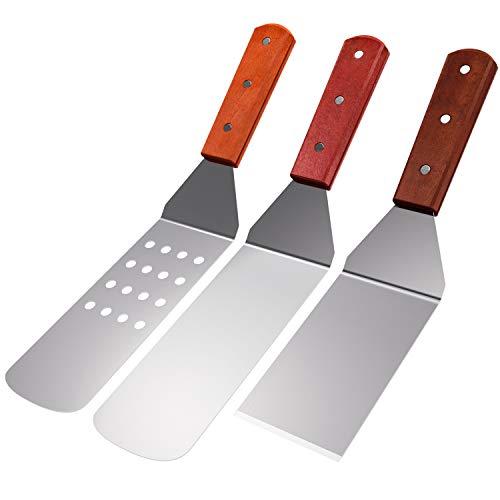 homeasy Grillwender Edelstahl Pfannenwender Set mit Holzgriffen BBQ Grillset für Grillen & Braten (3 Stück)