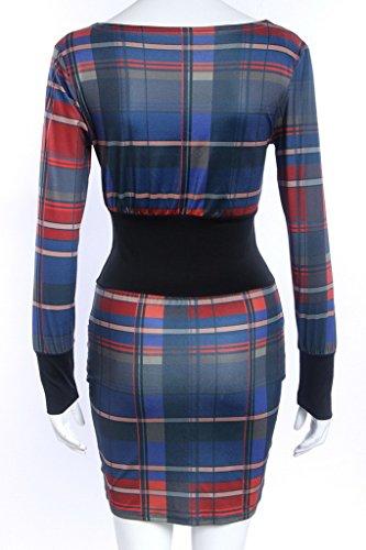 Smile YKK Long Sleeve Kariert Damen Kleid Slim Fit Party Kleid Minikleid Basis Kleid Freizeit Kleid Rot