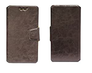 J Cover Bonded Series Leather Pouch Flip Case With Silicon Holder For BenQ F5 Brown